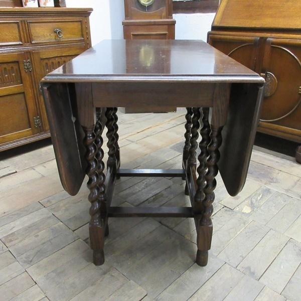 イギリス アンティーク 家具 ダイニングテーブル バタフライ ゲートレッグテーブル ツイストレッグ 木製 オーク 英国 TABLE 6486b_画像6