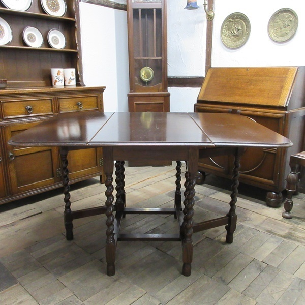 イギリス アンティーク 家具 ダイニングテーブル バタフライ ゲートレッグテーブル ツイストレッグ 木製 オーク 英国 TABLE 6486b_画像2