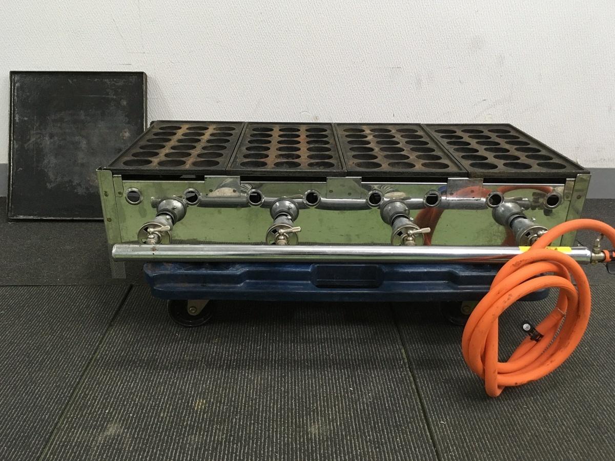 103 たこ焼き 店舗 屋台 鉄板ガス業務用 メーカー不明 たこ焼き器 18穴 直径4.5㎝ 4連&鉄板付き LPG専用 中古_画像1