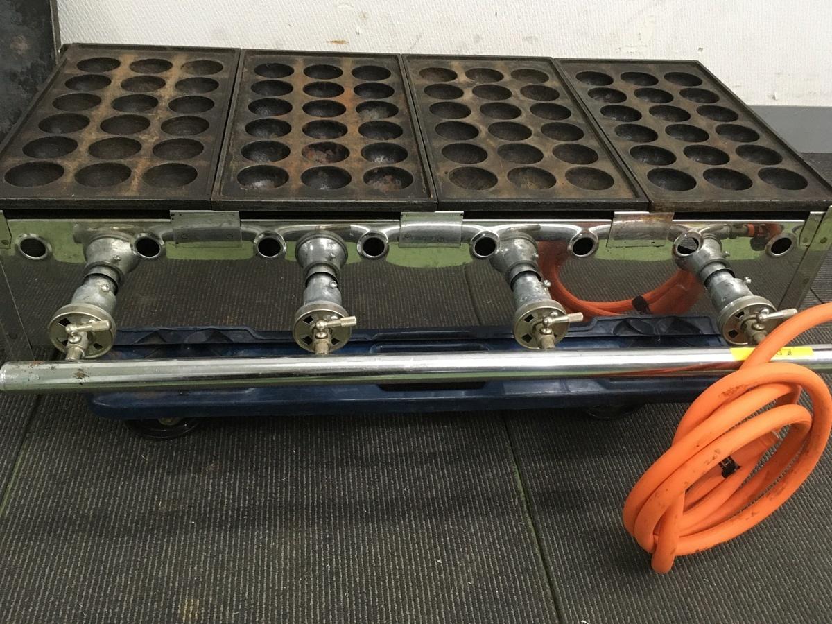 103 たこ焼き 店舗 屋台 鉄板ガス業務用 メーカー不明 たこ焼き器 18穴 直径4.5㎝ 4連&鉄板付き LPG専用 中古_画像2