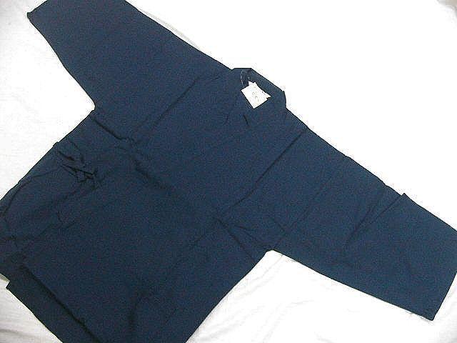 わけあり品 濃紺色地 綿100%・シャンタン生地 作務衣 LLサイズ 未使用品_画像2
