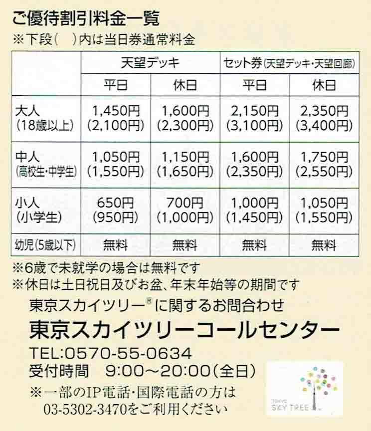 ★即決★/◆株主優待券◆「東京スカイツリー 当日券ご優待割引券」1枚~2枚_④
