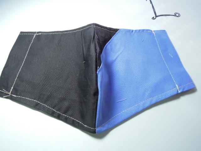 立体インナー マスク 青&黒色 お洒落なライン柄  ハンドメイド☆_画像1
