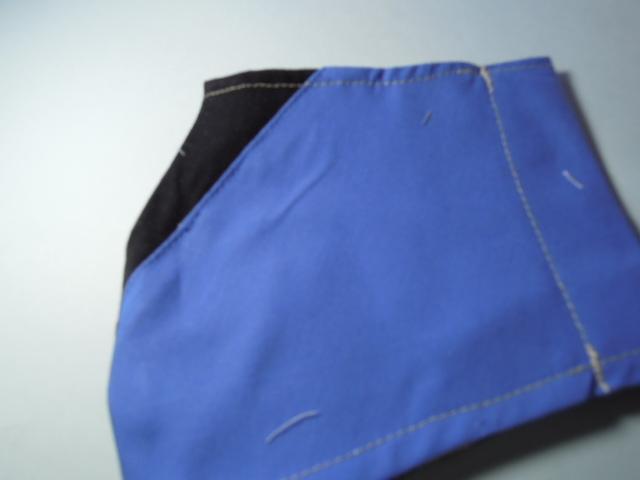 立体インナー マスク 青&黒色 お洒落なライン柄  ハンドメイド☆_現品に近い色です