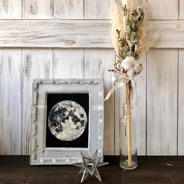 星月猫★「ホワイトコットンフラワーとパンパスグラスの一輪挿し用スワッグ」ドライフラワースワッグ 花束_画像5