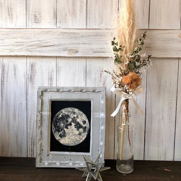 星月猫★「ブラウンコットンフラワーとパンパスグラスの一輪挿し用スワッグ」ドライフラワースワッグ 花束_画像5