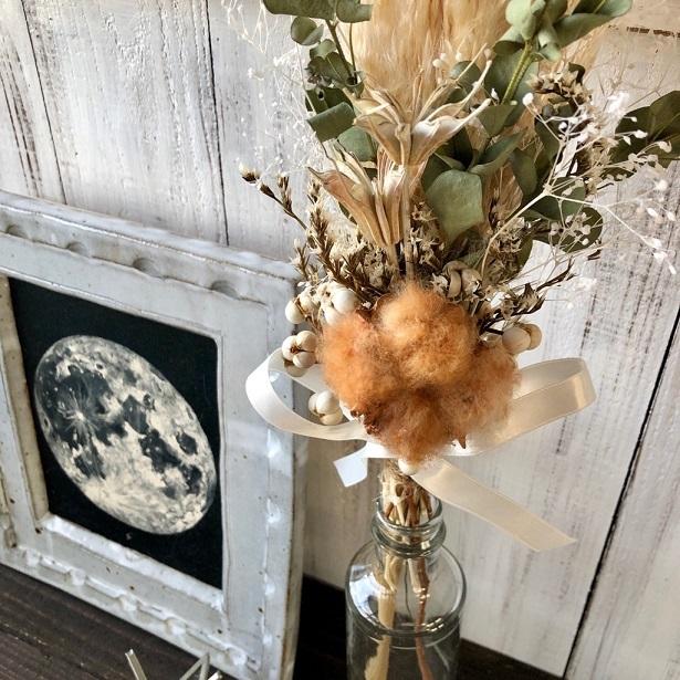 星月猫★「ブラウンコットンフラワーとパンパスグラスの一輪挿し用スワッグ」ドライフラワースワッグ 花束_画像4