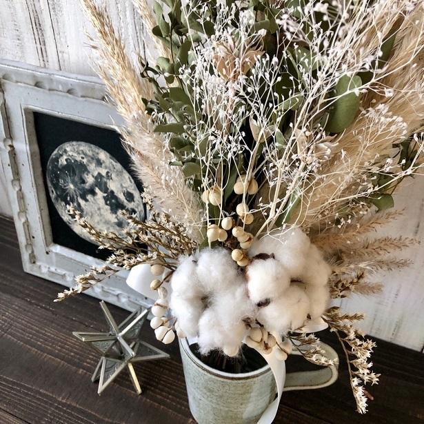 星月猫★「ホワイトコットンフラワーとパンパスグラス、ユーカリのスワッグ」ドライフラワースワッグ 花束_画像4