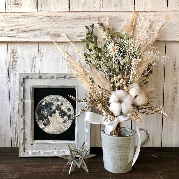星月猫★「ホワイトコットンフラワーとパンパスグラス、ユーカリのスワッグ」ドライフラワースワッグ 花束_画像5
