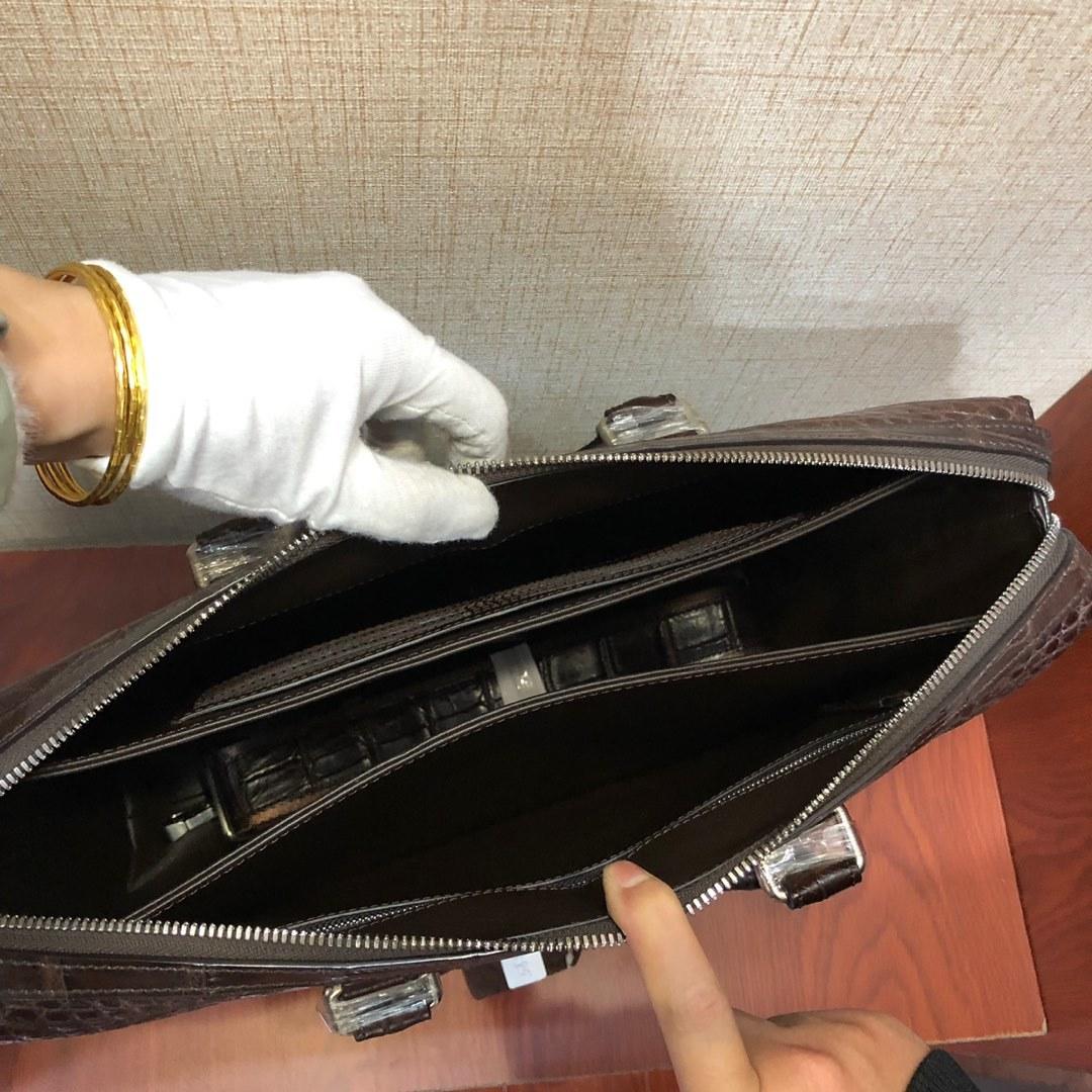 クロコダイルレザー ブリーフケース トートバッグ 書類鞄 A4/PC対応 ハンドバッグ メンズバッグ ワニ革 腹革本革 2WAY 人気 プレセント_ベルト付き