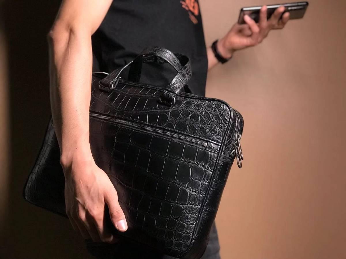 上品 ポロサス クロコダイルレザー ワニ革 本革 腹革 ブリーフケース 手提げ A4/PC対応 ハンドバッグ ビジネス 書類入れ メンズ プレゼント_画像6