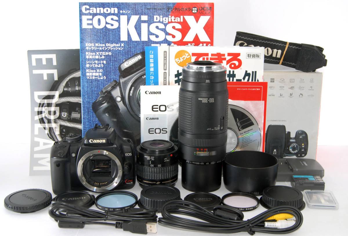 ◆初心者入門&付属品多数◆ Canon キャノン EOS Kiss X 純正&超望遠Wズームレンズセット