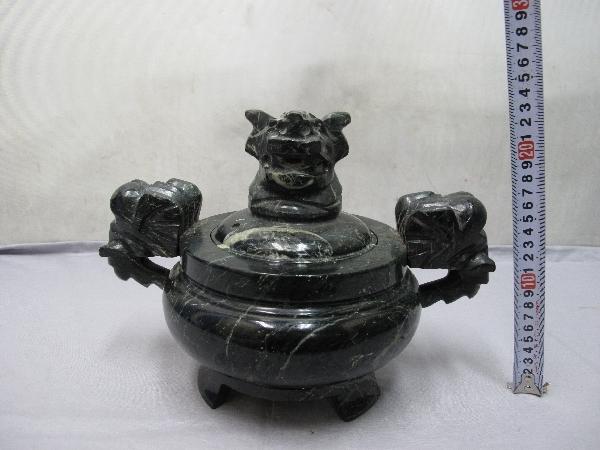 香炉 (121)蛇紋石 30x20x22cm 龍 _画像8