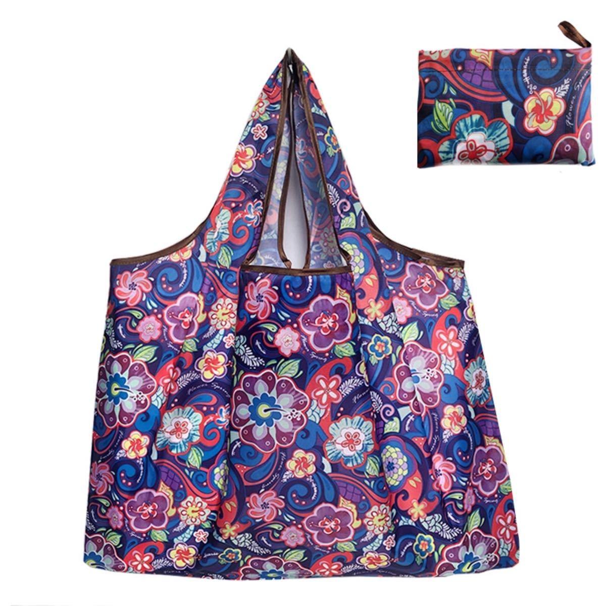 エコバッグ 2枚セット 大容量 花柄 丈夫 軽量 コンパクト 洗濯可 マイバッグ