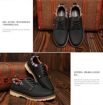 【新品】スニーカー メンズ 紳士靴 ビジネス カジュアル 防水 レースアップ PU レザー プレーントー シューズ 2色選択可 (24.5cm) E413_画像8