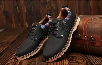【新品】スニーカー メンズ 紳士靴 ビジネス カジュアル 防水 レースアップ PU レザー プレーントー シューズ 2色選択可 (24.5cm) E413_画像9