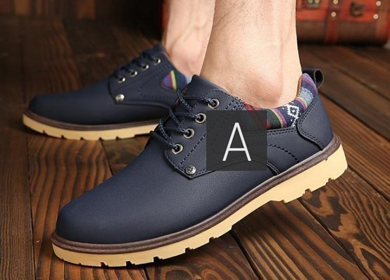 【新品】スニーカー メンズ 紳士靴 ビジネス カジュアル 防水 レースアップ PU レザー プレーントー シューズ 2色選択可 (26.5cm) E413_画像7