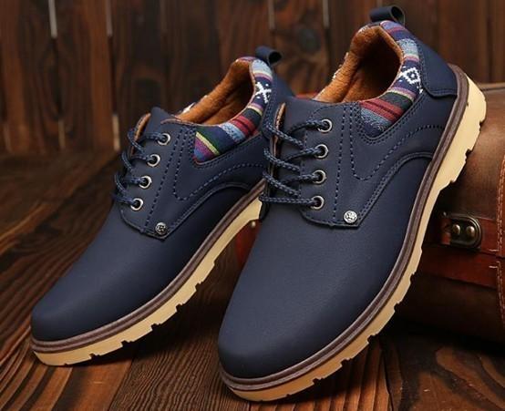 【新品】スニーカー メンズ 紳士靴 ビジネス カジュアル 防水 レースアップ PU レザー プレーントー シューズ 2色選択可 (26.5cm) E413_画像6