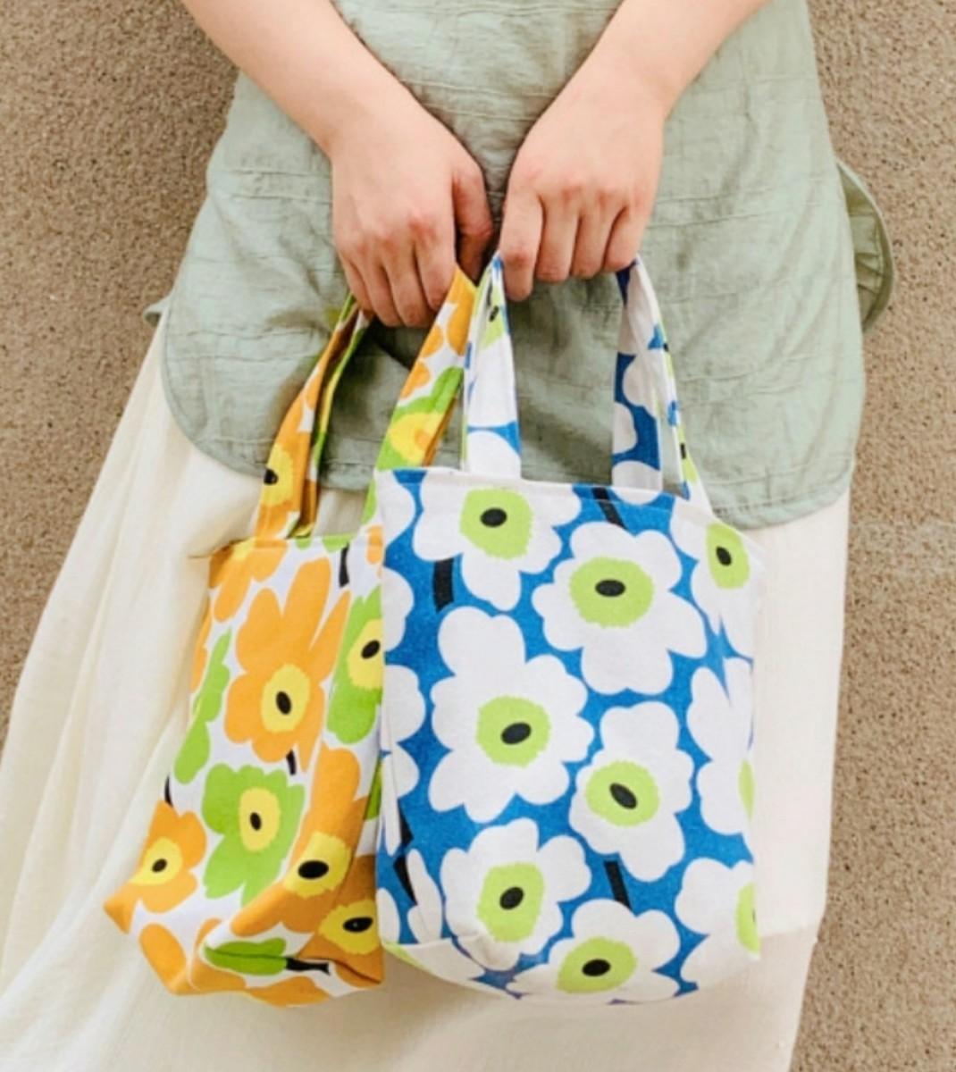 トートバッグ 花柄 ミニ ネイビー ファスナー サブ 弁当袋 可愛い 北欧 新品