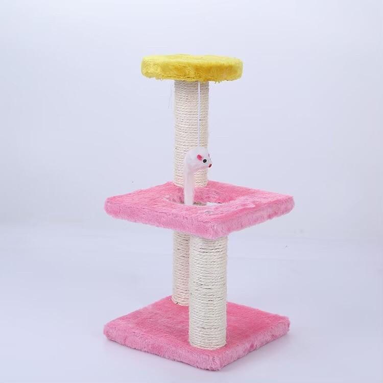 キャットタワー 組み立て簡単 3階建て ピンク×イエロー 【122】H1003