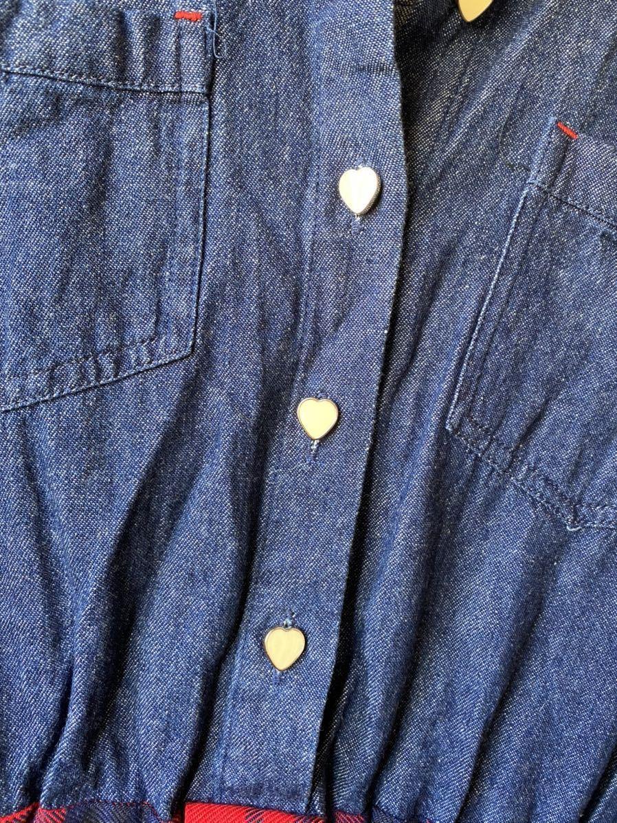 PINKlatteピンクラテ★デニム チェックシャツ ワンピースS160cm★ハートボタン★前リボン★1度だけ着用★ほぼ新品★即決のみ★送料無料