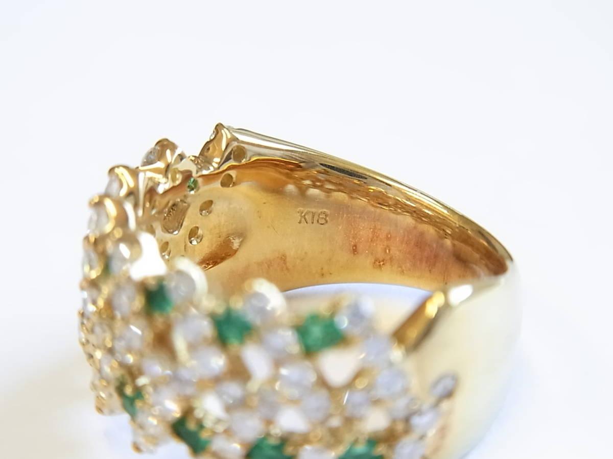 【貴金属】エメラルド&ダイヤリング/K18/ゴールド/指輪/12号/ジュエリー/アクセサリー/レディース_画像5