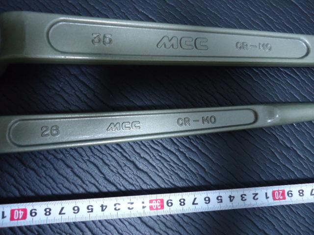 Z-184 未使用 2本セット 松阪鉄工所 MCC エムシーシー 片口 メガネレンチ 26mm 35mm 5/8 7/8 CR-MO シノ付 めがねレンチ プロ用 まとめて_画像4