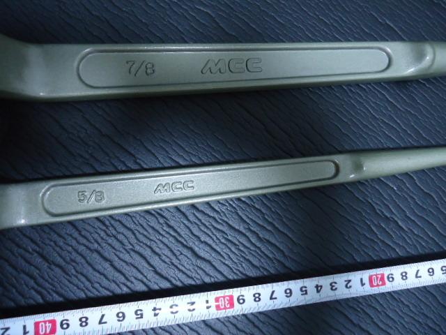 Z-184 未使用 2本セット 松阪鉄工所 MCC エムシーシー 片口 メガネレンチ 26mm 35mm 5/8 7/8 CR-MO シノ付 めがねレンチ プロ用 まとめて_画像5