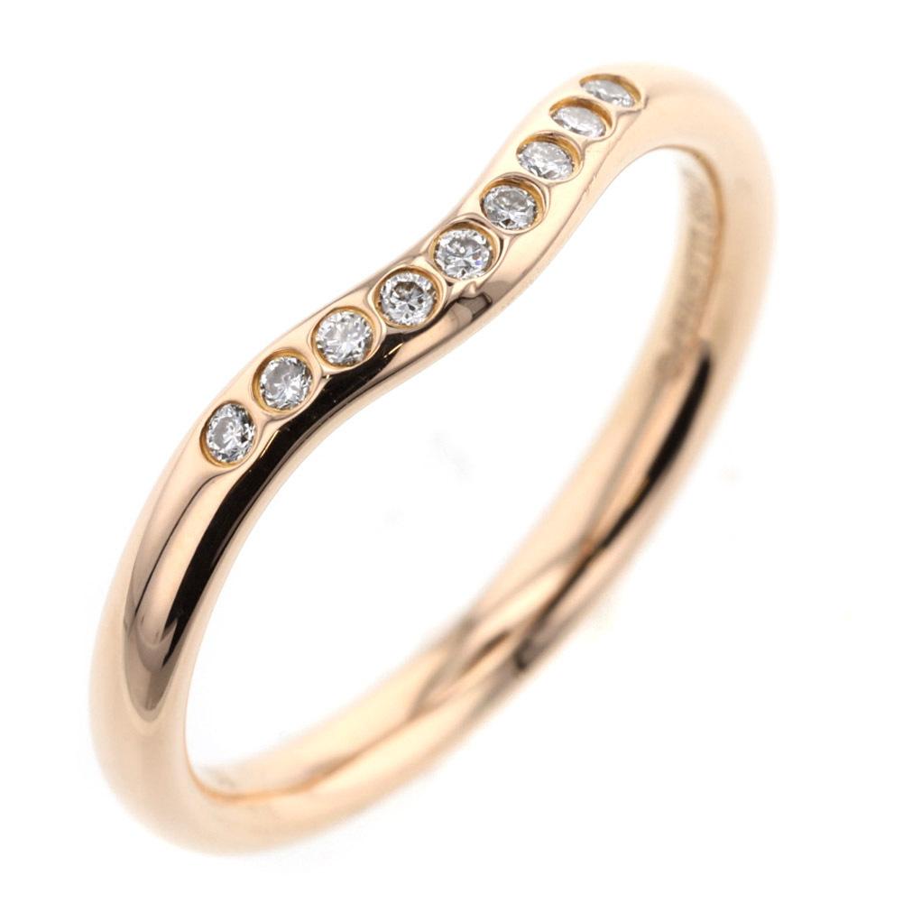 ティファニー リング 指輪 カーブドバンド ダイヤモンド 9P 幅約2mm K18PG 9.5号 TIFFANY&Co. 中古 K00713171