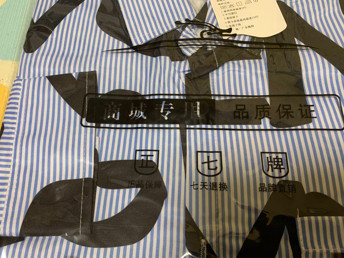 ストライプ プリントシャツ 英字 おしゃれ トレンド 大人気 オーバーサイズ