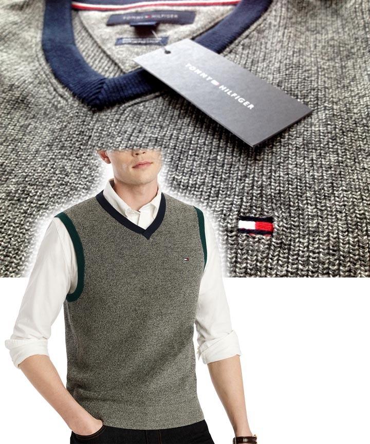 【既決USA】トミーヒルフィガー★TOMMY HILFIGER@完売胸元刺繍【TOMMY】ロゴ入Vネックベスト【TH Men's Jack V-Neck Sweater Vest】Grey@M