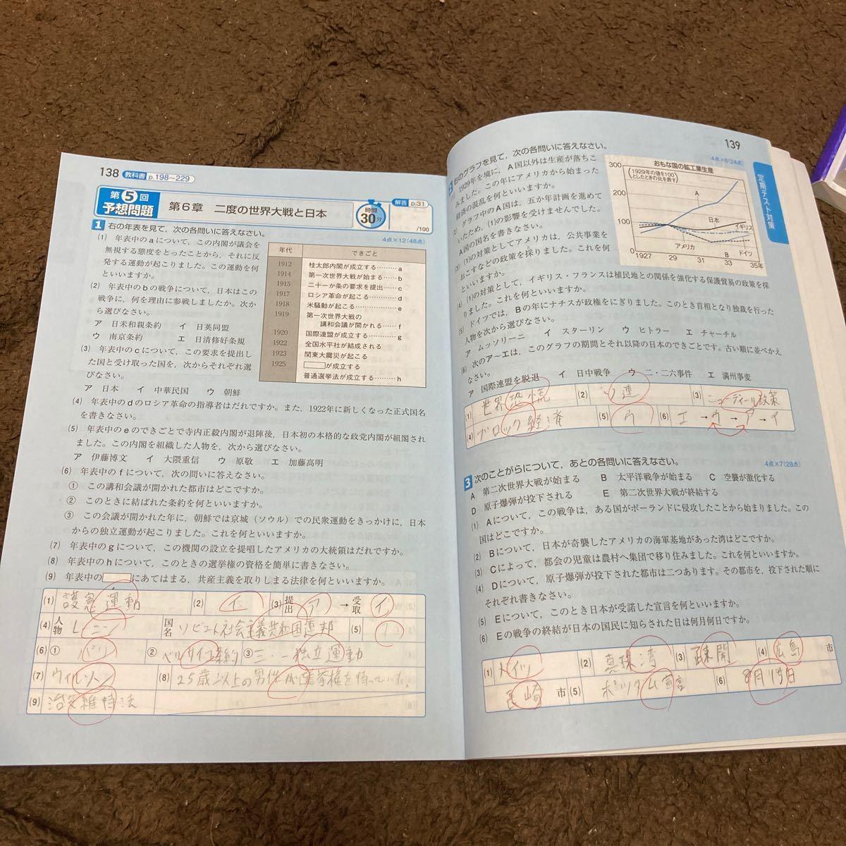 【書き込み有】教科書ワーク 歴史 中学3年