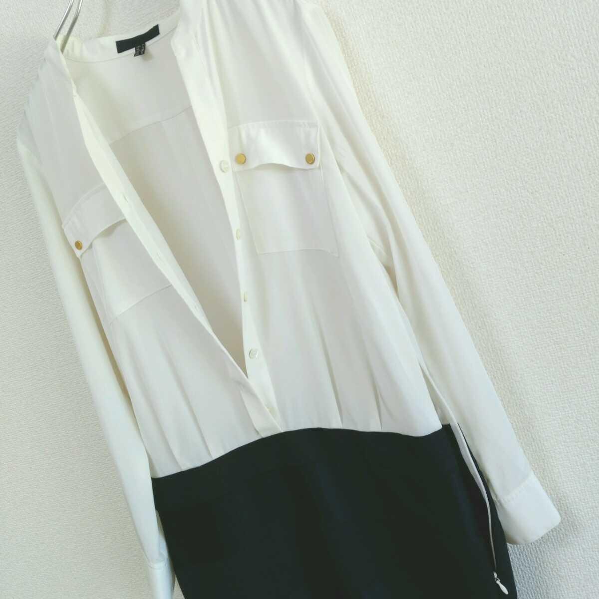 アイシービー iCB 日本製 レディース 9 白 ホワイト 紺 ネイビー 膝丈 ワンピース スカート 大人女子 カジュアル 古着女子 フルジョ●D19