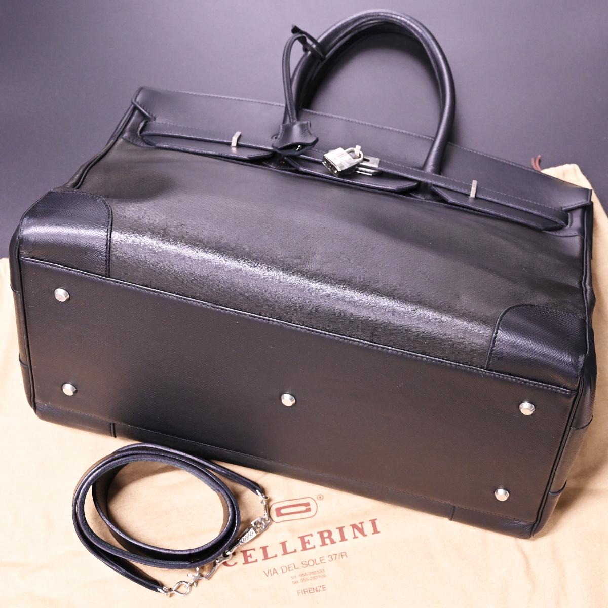 本物 チェレリーニ 極希少 ラージサイズ 2WAYフルレザー鍵付きメンズダッフルバッグ A4書類バーキン型ビジネスバッグ CELLERINI_画像4