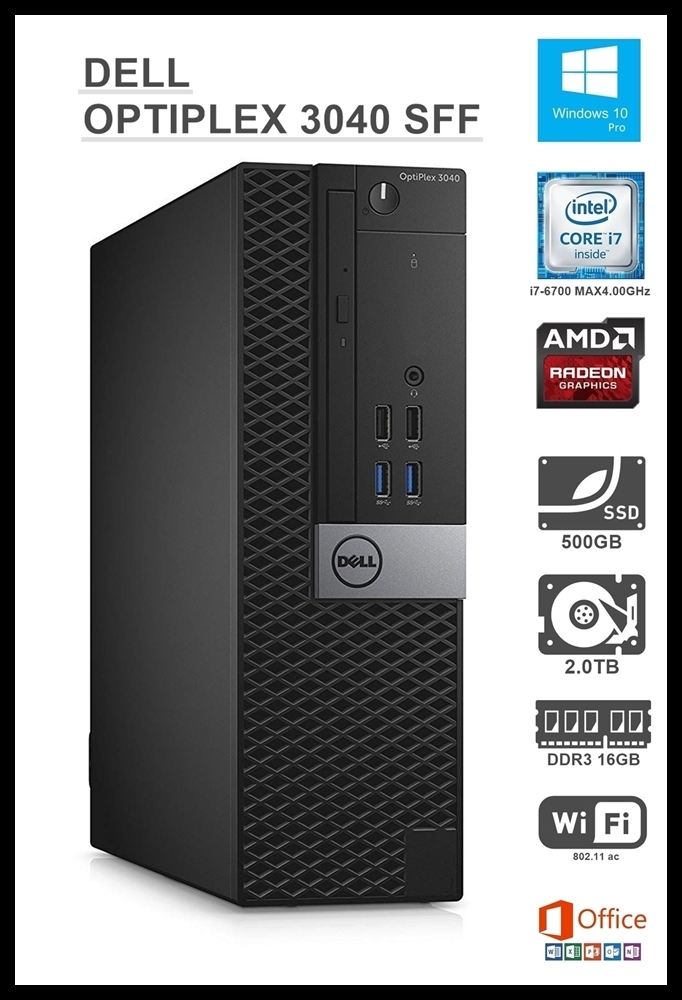 ★超高速 OPTIPLEX3040 SFF/Core i7-6700/DDR3L 16GB/SSD 500GB+HDD 2.0TB/AMD Radeon R5 340X/USB3.0/ac WiFi/Office2019/Windows10Pro★