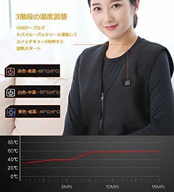 ブラック L 人気の電熱 ベスト 電熱ジャケット ヒーターベスト防寒 秋冬用 ホットベスト USB充電式加熱 3段温度調整 5つ_画像5