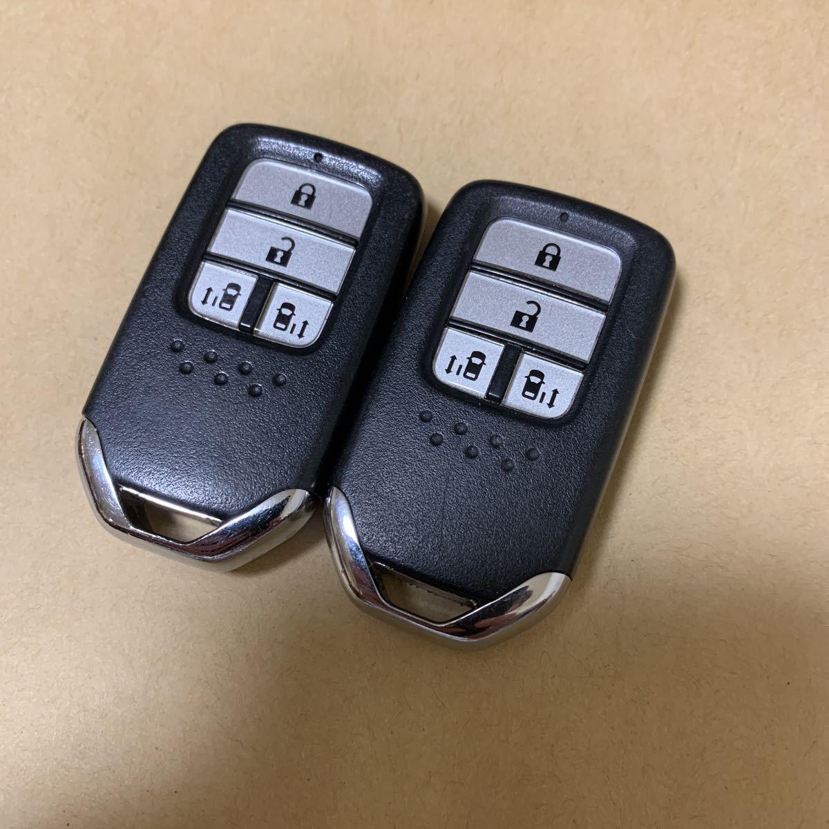 送料無料☆☆☆動作良好 ホンダ 純正品 オデッセイ ステップワゴン 4ボタン T6A-J12 スマートキー 両側パワースライド 2個セット  99_画像1
