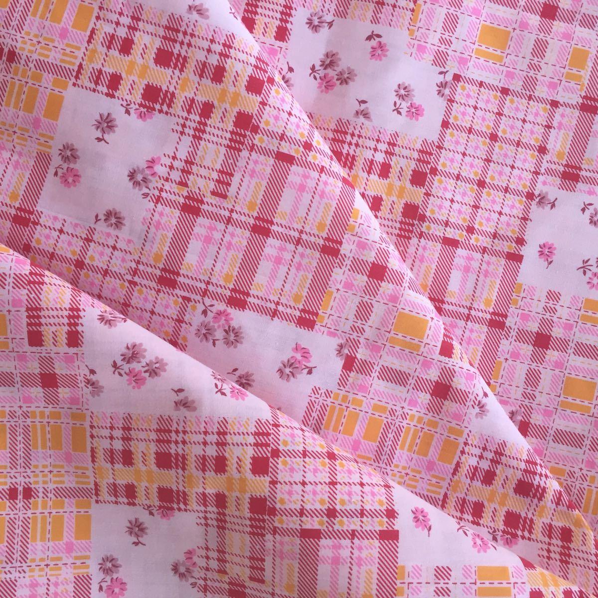 生地☆花柄 生地巾110cm×約200cm 約2M ピンク はぎれ パッチワーク