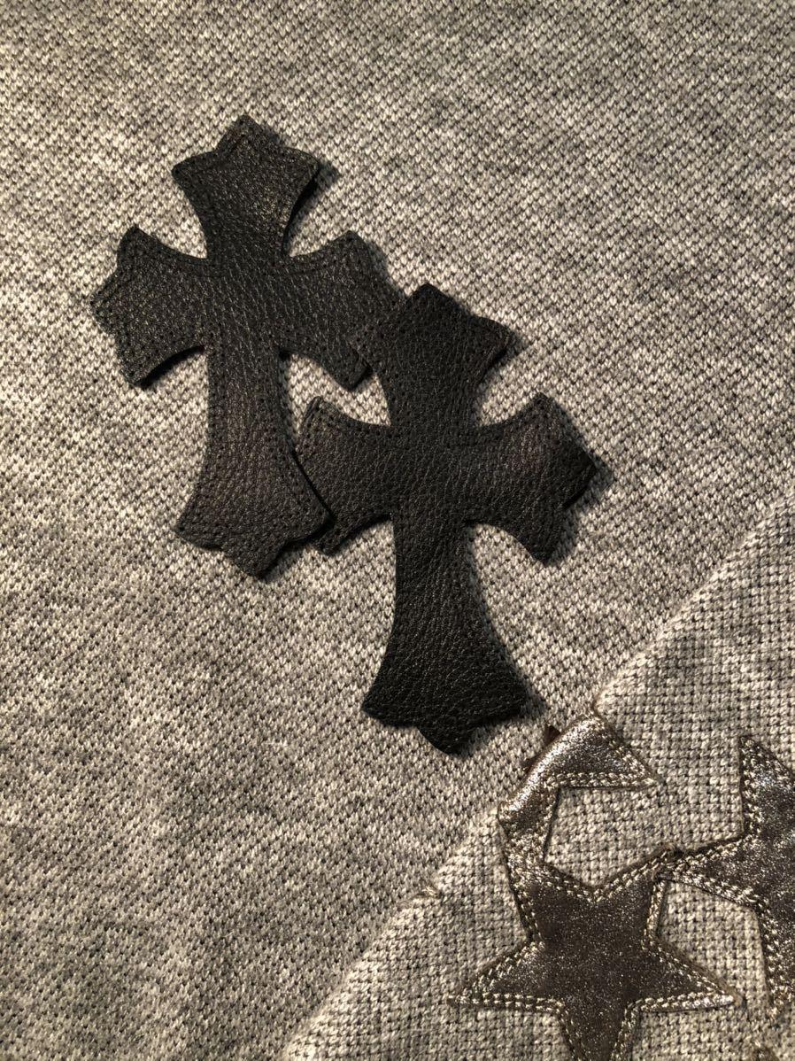 クロムハーツ Chrome Hearts クロスパッチ 2枚組 セメタリー レザー 牛革 装飾 カスタム 補修用 本物