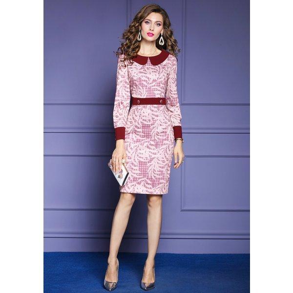 ドレス ワンピース パーティードレス 長袖 膝丈 リーフ柄 襟付き ラメ 飾りボタン ピンク レッドリモート 母親 イベント エレガント シン