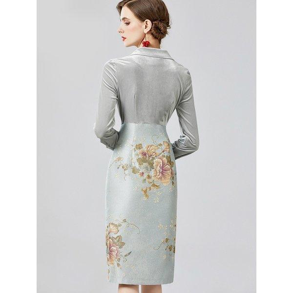 ドレス ワンピース タイトワンピ テーラード ダブルボタン 花柄 明るめ 華やか 長袖 ベロア素材 高級感 光沢感 グレー グリーン ピンクエ