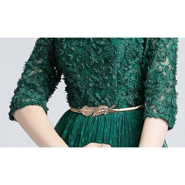 ドレス ロングドレス ワンピース ロング丈 ラウンドネック 七分袖 花柄 ドット柄 水玉模様 シフォン シアー シースルー 透け感 グリーン