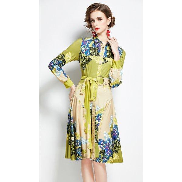 ドレス ワンピース シャツワンピース 膝丈 長袖 襟付き 総柄 花柄 華やか エレガント ボタン フレアスカート 大人女性 グリーンイエ