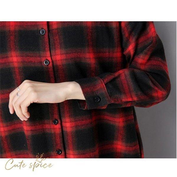 ワンピース ロングワンピース シャツワンピース レディース 秋 膝丈 長袖 体型カバー チェック柄 不規則 綿麻混風 ロングシャツ 40代