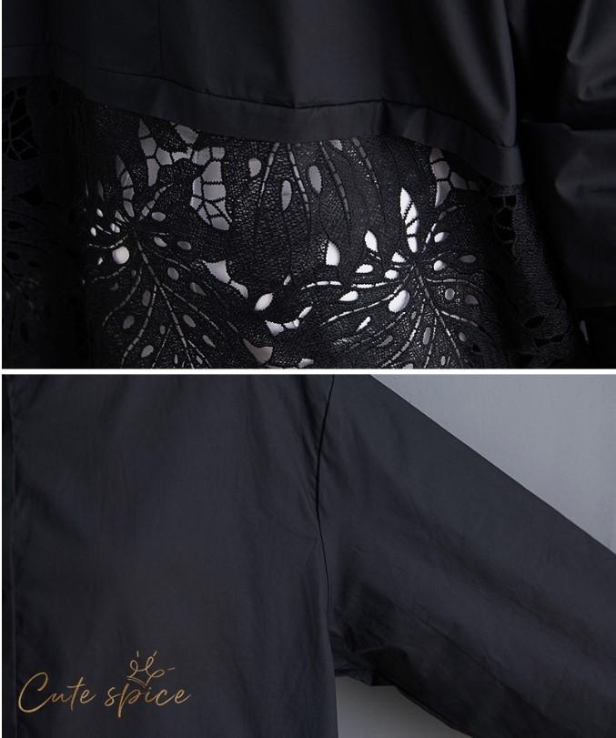 シャツワンピース レディース 秋 トップス ロングシャツ レース ゆったり シャツワンピース 長袖 プリント 体型カバー 大きいサイズ 着