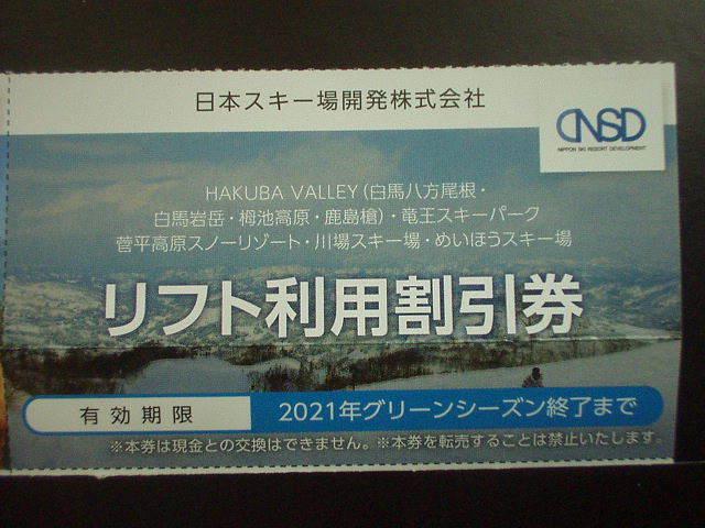 ★日本駐車場開発株主優待「スキー場リフト利用割引券」1枚_画像1