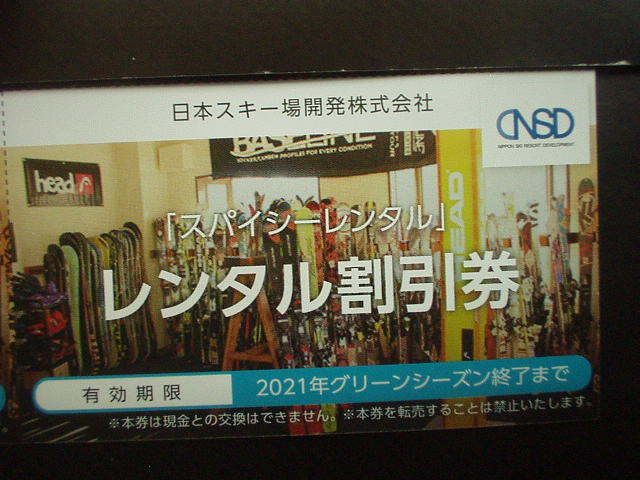 ★日本駐車場開発株主優待「スキー場リフト利用割引券」1枚_画像3