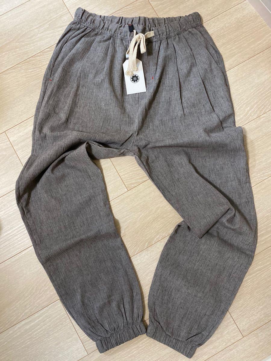 サルエルパンツ メンズ 麻ズボン リネン  カジュアルパンツ 裾リブ チノパン