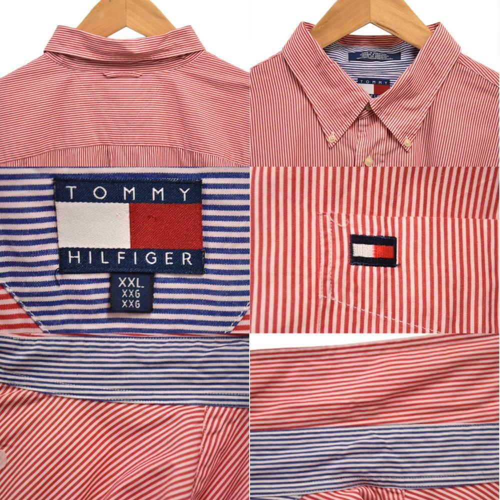 ビッグ トミーヒルフィガー ボタンダウン 長袖シャツ ワンポイントロゴ刺繍 レッド×ホワイト ストライプ 3XL相当(24552_画像3
