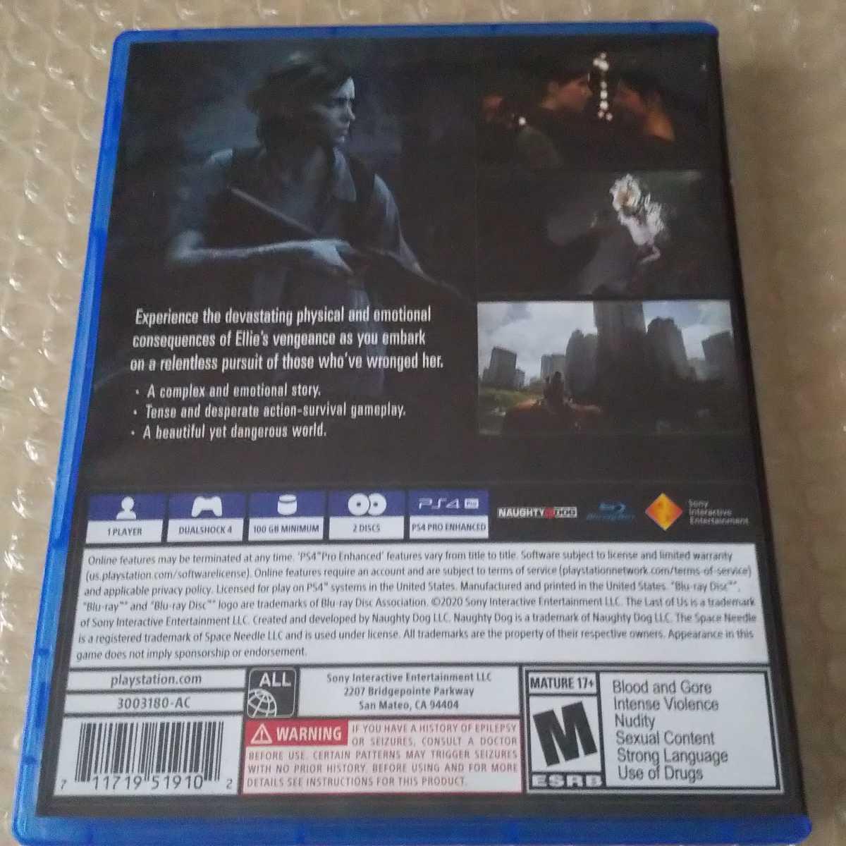 北米版 ラストオブアス パート2 PS4ソフト THE LAST OF US PART2